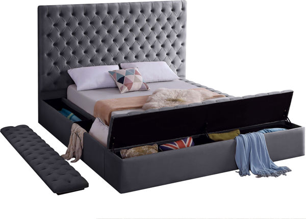 Bliss Grey Velvet Queen Bed (3 Boxes)