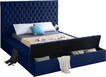 Bliss Navy Velvet Queen Bed (3 Boxes)