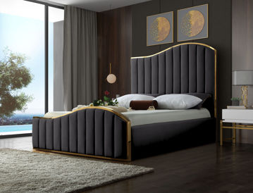 Jolie Grey Velvet King Bed