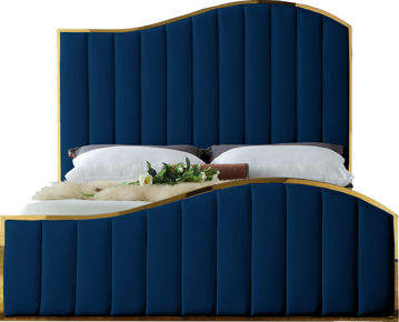Jolie Navy Velvet Queen Bed