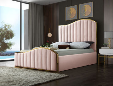 Jolie Pink Velvet Queen Bed
