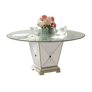 """Picture of BORGHESE 60"""" ROUND TABLE W/ GLASS TOP - 8311"""