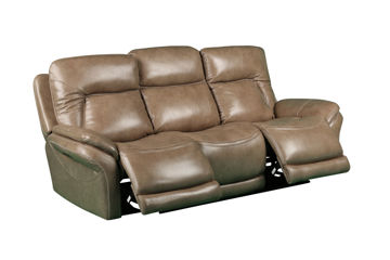Picture of SIMON TAUPE POWER LEATHER RECLINING SOFA - 70059