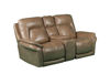 Picture of SIMON TAUPE POWER LEATHER RECLINING CONSOLE LOVESEAT - 70059