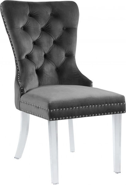 Picture of MILEY GREY VELVET DINING CHAIR - 746
