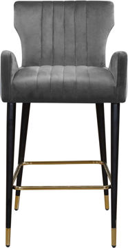 Picture of LUXE GREY VELVET COUNTER STOOL - 792