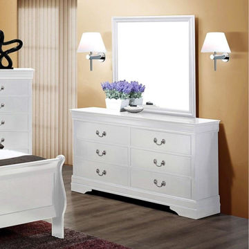 Picture of LOUIS PHILIP WHITE 6 DRAWER DRESSER  - B3600