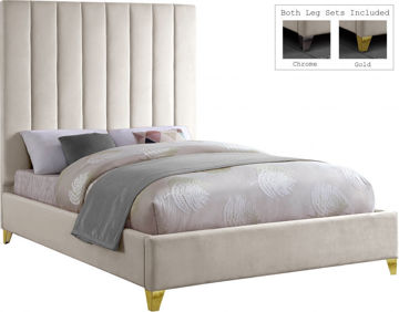 Picture of VIA VELVET CREAM QUEEN BED - 336