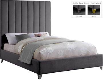 Picture of VIA VELVET GREY QUEEN BED - 336