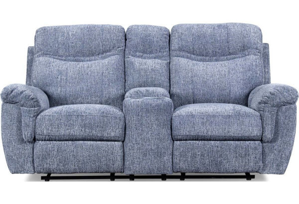 Picture of SHEFFIELD BLUE RECLINING CONSOLE LOVESEAT - U2432