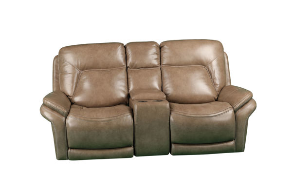 Picture of SIMON TAUPE POWER LEATHER RECLINING SET - 70059
