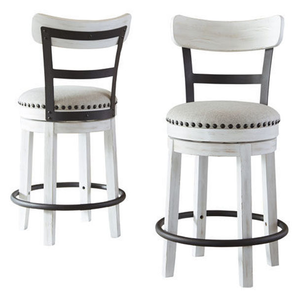 """Picture of VALEBECK WHITE 24"""" SWIVEL COUNTER STOOL - D546"""