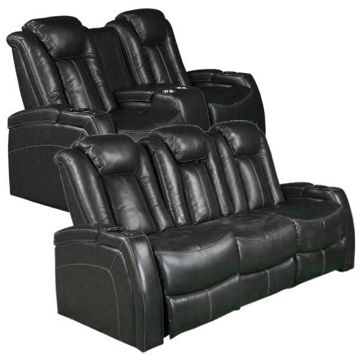 Picture of INSPIRE GREY LEATHER RECLINING SET - 4644